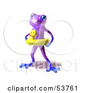 Royalty Free RF Clipart Illustration Of A Cute 3d Purple Tree Frog Wearing A Ducky Inner Tube Pose 1