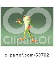 Cute 3d Green Tree Frog Waving Pose 6 by Julos