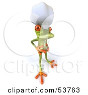 Royalty Free RF Clipart Illustration Of A Cute 3d Green Tree Frog Chef Rubbing His Belly by Julos