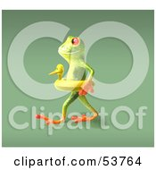 Royalty Free RF Clipart Illustration Of A Cute 3d Green Tree Frog Wearing A Ducky Inner Tube Pose 6