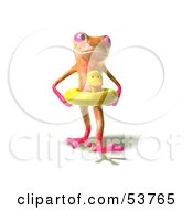 Royalty Free RF Clipart Illustration Of A Cute 3d Pink Tree Frog Wearing A Ducky Inner Tube Pose 3