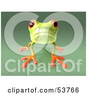 Cute 3d Green Tree Frog On All Fours Looking Forward Version 1 by Julos