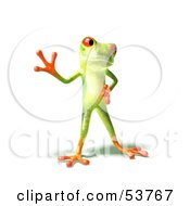 Cute 3d Green Tree Frog Waving Pose 1 by Julos
