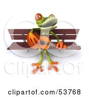 Cute 3d Green Tree Frog Playing A Guitar On A Park Bench Pose 2 by Julos