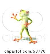 Cute 3d Green Tree Frog Waving Pose 2 by Julos