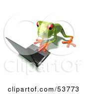 Cute 3d Green Tree Frog Using A Laptop Pose 3 by Julos