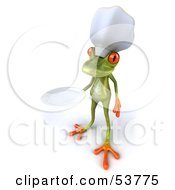 Royalty Free RF Clipart Illustration Of A Cute 3d Green Tree Frog Chef Holding A Platter Pose 3 by Julos
