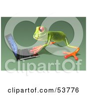 Cute 3d Green Tree Frog Using A Laptop Pose 5 by Julos