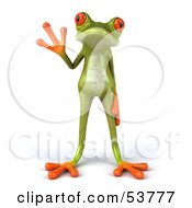 Royalty Free RF Clipart Illustration Of A Cute 3d Skinny Green Tree Frog Waving And Facing Front by Julos