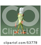Cute 3d Green Tree Frog Chef Wearing A Hat Pose 5 by Julos