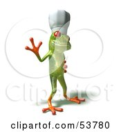 Cute 3d Green Tree Frog Chef Wearing A Hat Pose 2 by Julos