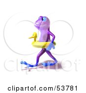 Royalty Free RF Clipart Illustration Of A Cute 3d Purple Tree Frog Wearing A Ducky Inner Tube Pose 2