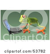 Cute 3d Green Tree Frog Using A Laptop Pose 4 by Julos