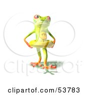 Royalty Free RF Clipart Illustration Of A Cute 3d Green Tree Frog Wearing A Ducky Inner Tube Pose 3