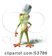Royalty Free RF Clipart Illustration Of A Cute 3d Green Tree Frog Chef Wearing A Hat Pose 1 by Julos