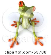 Royalty Free RF Clipart Illustration Of A Cute 3d Green Tree Frog Lazily Leaning Back Pose 3 by Julos