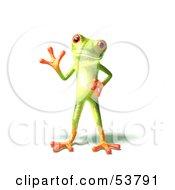 Cute 3d Green Tree Frog Waving Pose 3 by Julos