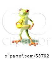 Royalty Free RF Clipart Illustration Of A Cute 3d Green Tree Frog Wearing A Ducky Inner Tube Pose 1