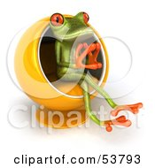 Royalty Free RF Clipart Illustration Of A Cute 3d Green Tree Frog Thinking In A Cocoon Chair Version 2 by Julos