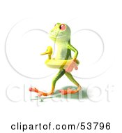 Cute 3d Green Tree Frog Wearing A Ducky Inner Tube Pose 2 by Julos