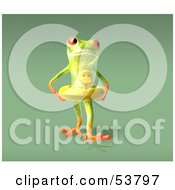 Royalty Free RF Clipart Illustration Of A Cute 3d Green Tree Frog Wearing A Ducky Inner Tube Pose 7