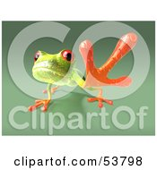 Royalty Free RF Clipart Illustration Of A Cute 3d Green Tree Frog Reaching Outwards With His Foot Version 1