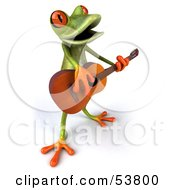 Royalty Free RF Clipart Illustration Of A Cute 3d Green Tree Frog Guitarist Playing Music Pose 5 by Julos