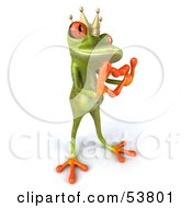 Royalty Free RF Clipart Illustration Of A Cute 3d Green Tree Frog Prince Making A Heart With His Fingers Pose 3