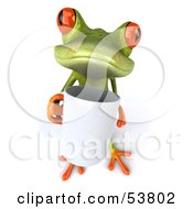 Royalty Free RF Clipart Illustration Of A Cute 3d Green Tree Frog Holding A Coffee Mug Pose 3