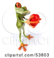Royalty Free RF Clipart Illustration Of A Cute 3d Green Tree Frog Giving A Red Heart Pose 1 by Julos