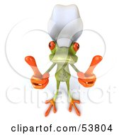 Royalty Free RF Clipart Illustration Of A Cute 3d Green Tree Frog Chef Giving Two Thumbs Up Pose 1 by Julos