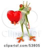Royalty Free RF Clipart Illustration Of A Cute 3d Green Tree Frog Prince Giving A Heart Pose 2 by Julos