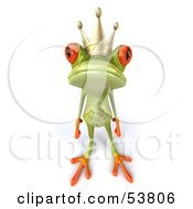 Royalty Free RF Clipart Illustration Of A Cute 3d Green Tree Frog Prince Looking Lonely by Julos