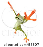 Royalty Free RF Clipart Illustration Of A Cute 3d Green Tree Frog Dancing Pose 2 by Julos
