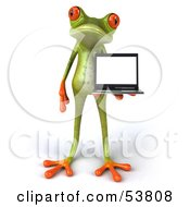 Royalty Free RF Clipart Illustration Of A Cute 3d Green Tree Frog Presenting A Laptop Pose 1 by Julos