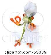 Cute 3d Green Tree Frog Gesturing The A Ok And Holding A Blank Menu by Julos