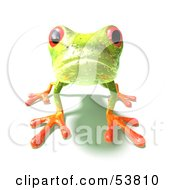 Cute 3d Green Tree Frog On All Fours Looking Forward Version 2 by Julos
