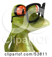 Royalty Free RF Clipart Illustration Of A Cute 3d Green Tree Frog Wearing Spectacles Version 2 by Julos