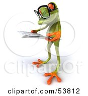 Royalty Free RF Clipart Illustration Of A Cute 3d Green Tree Frog Wearing Glasses And Reading Pose 6 by Julos