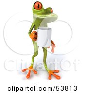 Royalty Free RF Clipart Illustration Of A Cute 3d Green Tree Frog Holding A Coffee Mug Pose 2 by Julos