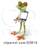 Royalty Free RF Clipart Illustration Of A Cute 3d Green Tree Frog Presenting A Laptop Pose 3 by Julos