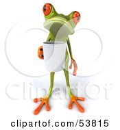 Royalty Free RF Clipart Illustration Of A Cute 3d Green Tree Frog Holding A Coffee Mug Pose 1 by Julos