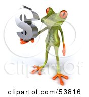 Royalty Free RF Clipart Illustration Of A Cute 3d Green Tree Frog Holding A Silver Dollar Symbol Pose 3 by Julos