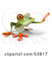 Royalty Free RF Clipart Illustration Of A Cute 3d Green Tree Frog Reaching Pose 2 by Julos