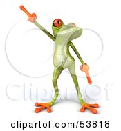 Royalty Free RF Clipart Illustration Of A Cute 3d Green Tree Frog Dancing Pose 1 by Julos