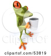 Royalty Free RF Clipart Illustration Of A Cute 3d Green Tree Frog Holding A Coffee Mug Pose 4 by Julos