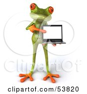 Royalty Free RF Clipart Illustration Of A Cute 3d Green Tree Frog Presenting A Laptop Pose 2 by Julos