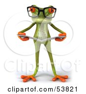 Royalty Free RF Clipart Illustration Of A Cute 3d Green Tree Frog Wearing Glasses And Reading Pose 4