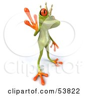 Royalty Free RF Clipart Illustration Of A Cute 3d Green Tree Frog Prince Waving Pose 1