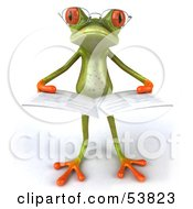 Royalty Free RF Clipart Illustration Of A Cute 3d Green Tree Frog Wearing Glasses And Reading Pose 2 by Julos